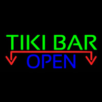 Tiki Bar Open With Arrow Real Neon Glass Tube Neon Skilt