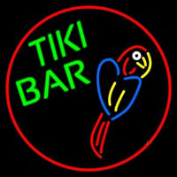 Tiki Bar Parrot Oval With Red Border Neon Skilt
