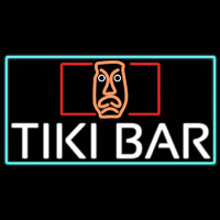 Tiki Bar Sculpture With Turquoise Border Real Neon Glass Tube Neon Skilt