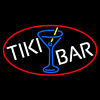 Tiki Bar Wine Glass Oval With Red Border Neon Skilt