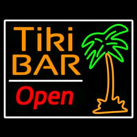 Tiki Bar With Palm Tree Open Neon Skilt