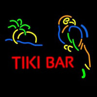 Tiki Bar With Parrot Neon Skilt