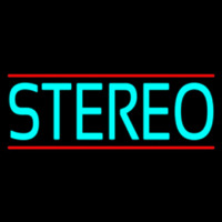 Turquoise Stereo Block Red Line Neon Skilt