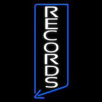 Vertical White Records Neon Skilt