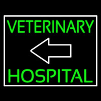 Veterinary Hospital With Arrow Neon Skilt