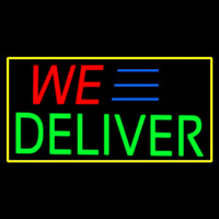 We Deliver Yellow Rectangle Neon Skilt