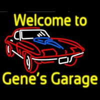 Welcome to Genes Garage Car Logo Neon Skilt