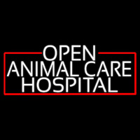 White Animal Care Hospital With Red Border Neon Skilt