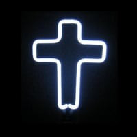 White Cross Desktop Neon Skilt