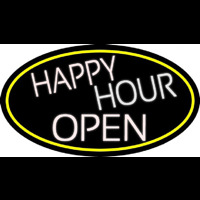White Happy Hour Open Oval With Yellow Border Neon Skilt