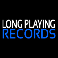 White Long Playing Blue Records Block 1 Neon Skilt
