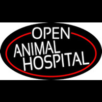 White Open Animal Hospital Oval With Red Border Neon Skilt