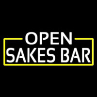White Open Sakes Bar With Blue Border Neon Skilt
