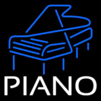 White Piano Blue Logo 4 Neon Skilt