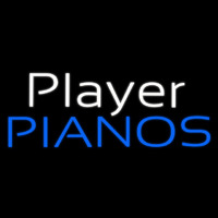 White Player Blue Pianos Block Neon Skilt