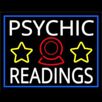 White Psychic Readings With Blue Border Neon Skilt