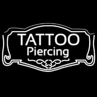 White Tattoo Piercing Neon Skilt
