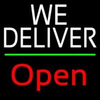 White We Deliver Green Line Open Neon Skilt