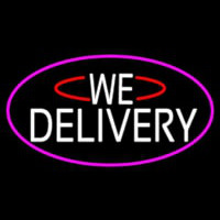 White We Deliver Oval With Pink Border Neon Skilt