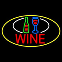 Wine Bottle Glass Oval With Yellow Border Neon Skilt