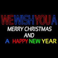 Wishing Merry Christmas Happy New Year Neon Skilt