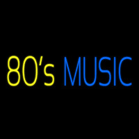 Yellow 80s Blue Music Neon Skilt