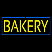 Yellow Bakery With Blue Border Neon Skilt