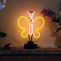 Yellow Butterfly Desktop Neon Skilt