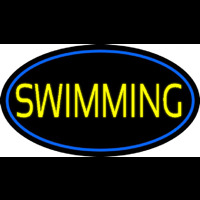 Yellow Swimming With Blue Border Neon Skilt