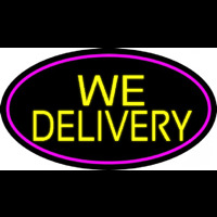 Yellow We Deliver Oval With Pink Border Neon Skilt