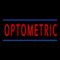Red Optometric Blue Lines Neon Skilt
