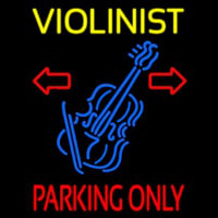 Yellow Violinist Red Parking Only Neon Skilt