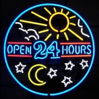 open 24 hours sun moon day BEER BAR PUB Neon Skilt